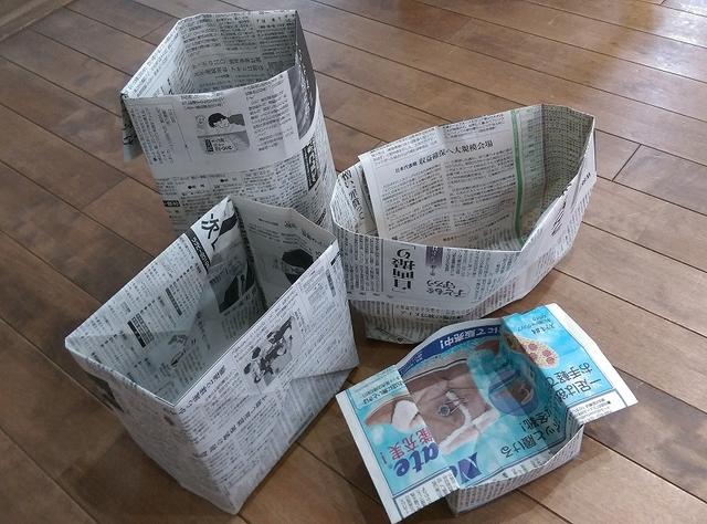 卓上ストッカーからゴミ箱サイズまで!新聞紙を折って作る箱が便利♪