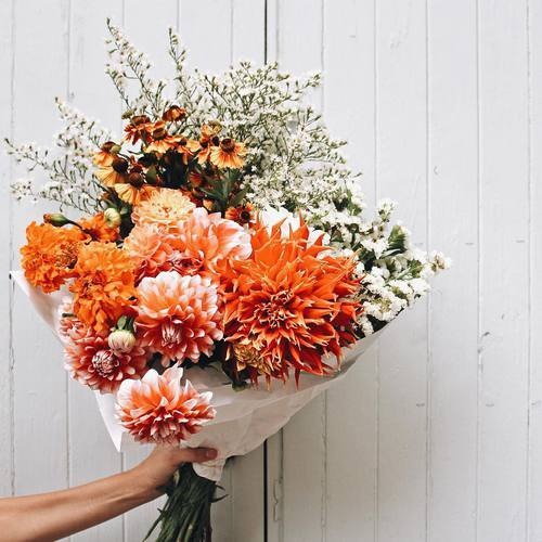 New fun& bright color mix with retro | We Heart It | flowers and orange