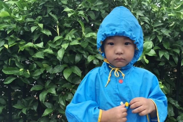 台風に立ち向かう!子供を守る雨カッパ特集