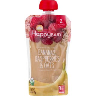 Happy Family Organics, Organic Baby Food, Stage 2, Clearly Crafted, 6+ Months, Bananas, Raspberries & Oats, 4 oz (113 g) - iHerb